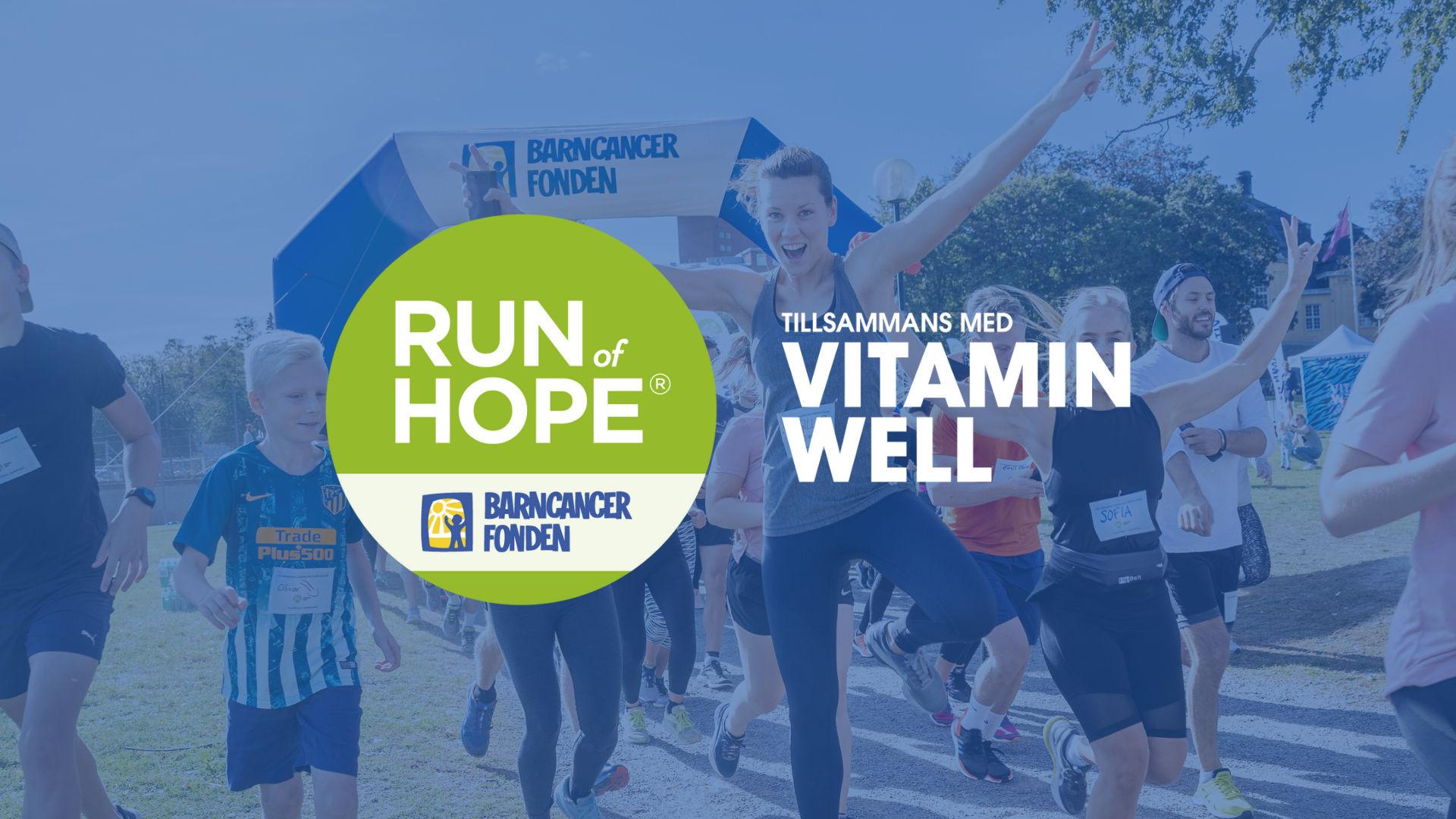 Barncancerfondens virtuella Run of Hope tillsammans med Vitamin Well 5km